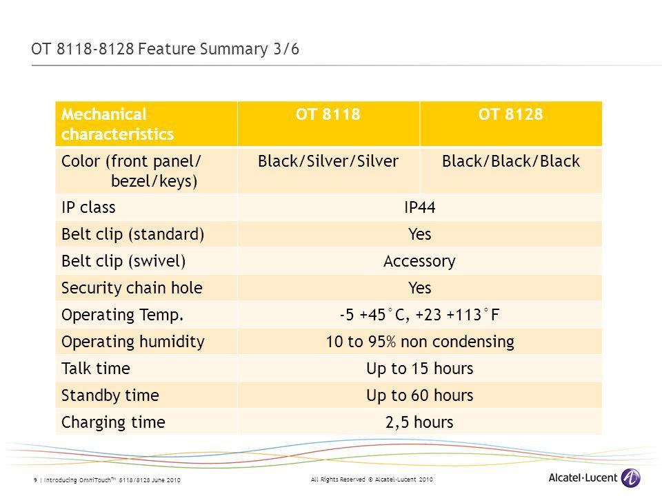 OT 8118-8128 Feature Summary 3/6 Mechanical characteristics. OT 8118. OT 8128. Color (front panel/