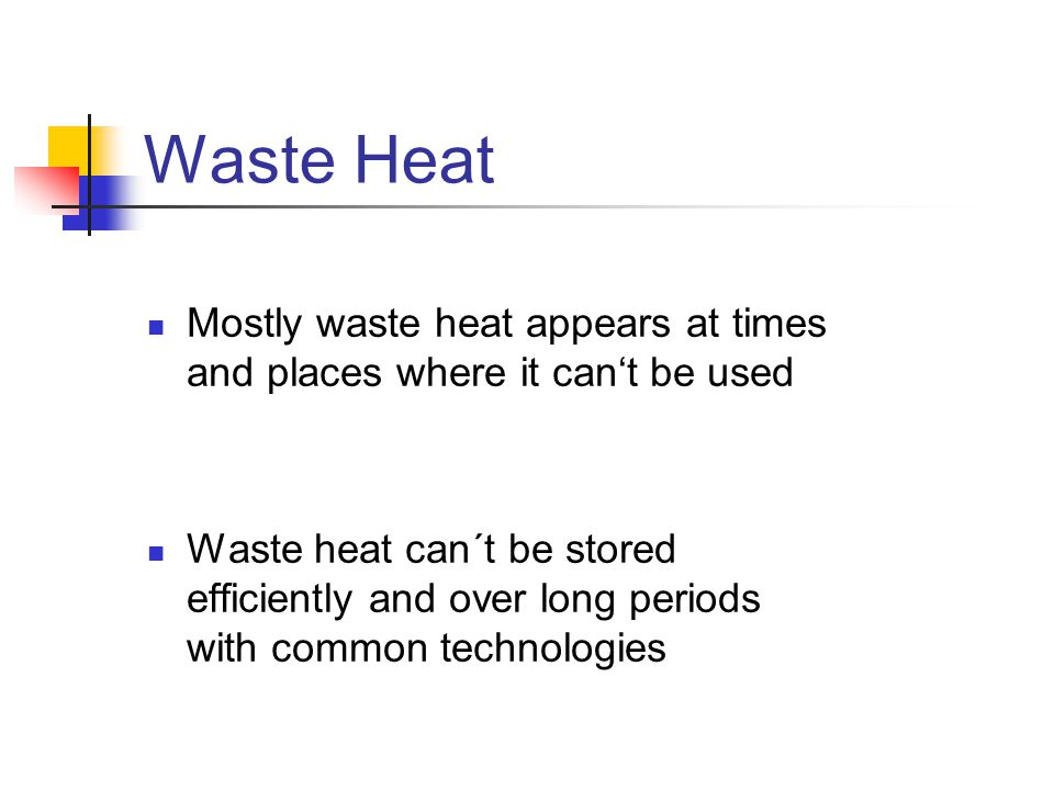 Waste Heat Mostly waste heat appears at times and places where it can't be used.