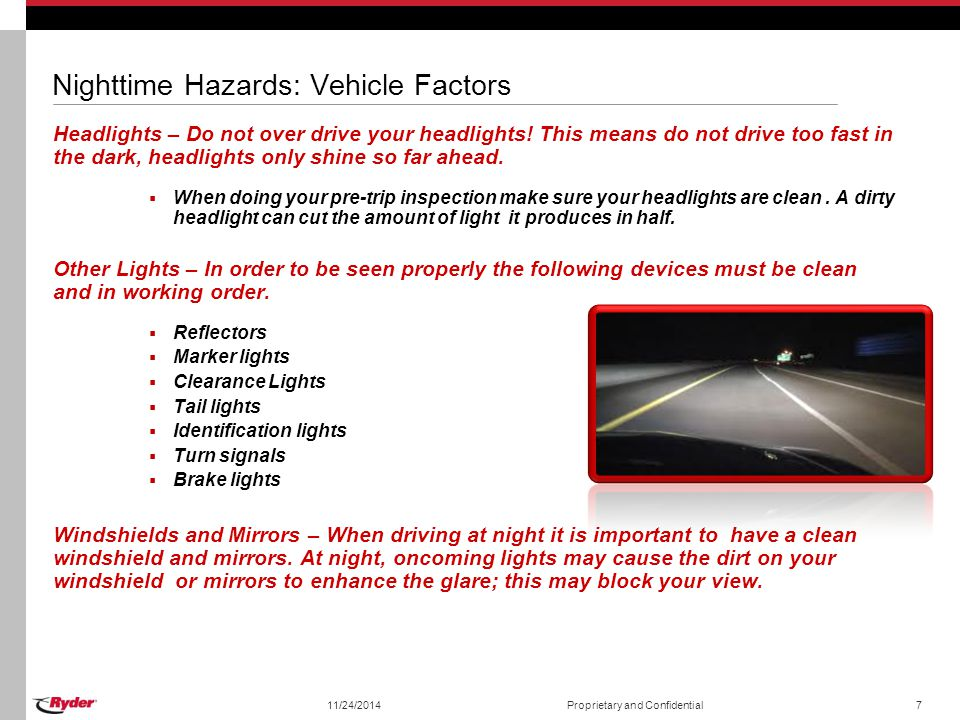 Nighttime Hazards: Vehicle Factors