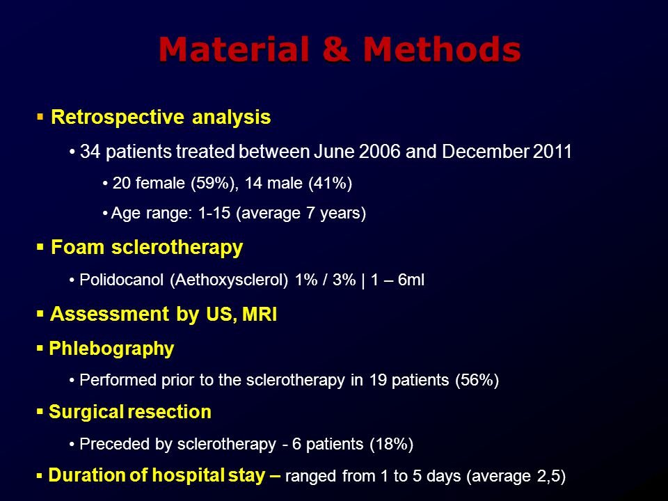 Material & Methods Retrospective analysis Foam sclerotherapy