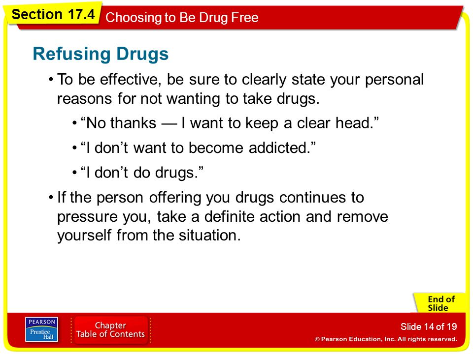 Refusing Drugs To be effective, be sure to clearly state your personal reasons for not wanting to take drugs.