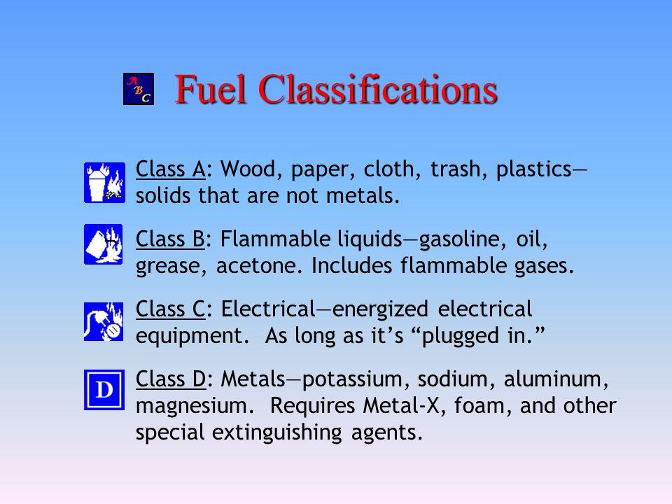 Fuel Classifications Class A: Wood, paper, cloth, trash, plastics—solids that are not metals.
