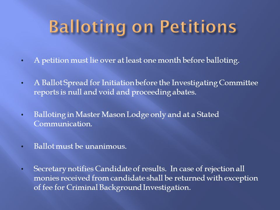 Balloting on Petitions