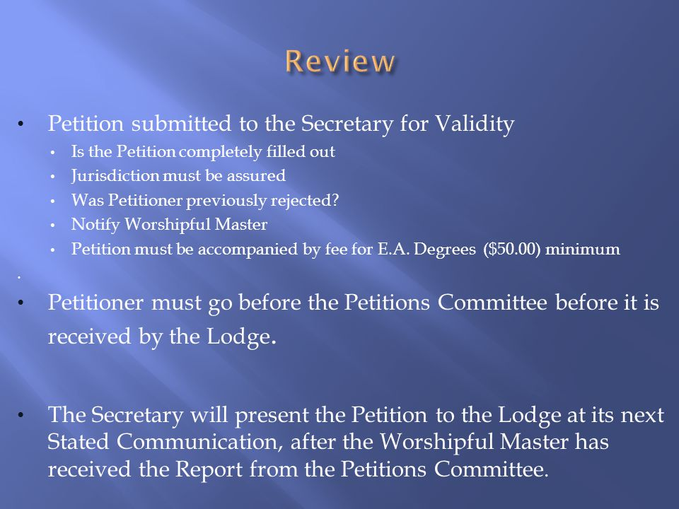 Review Petition submitted to the Secretary for Validity