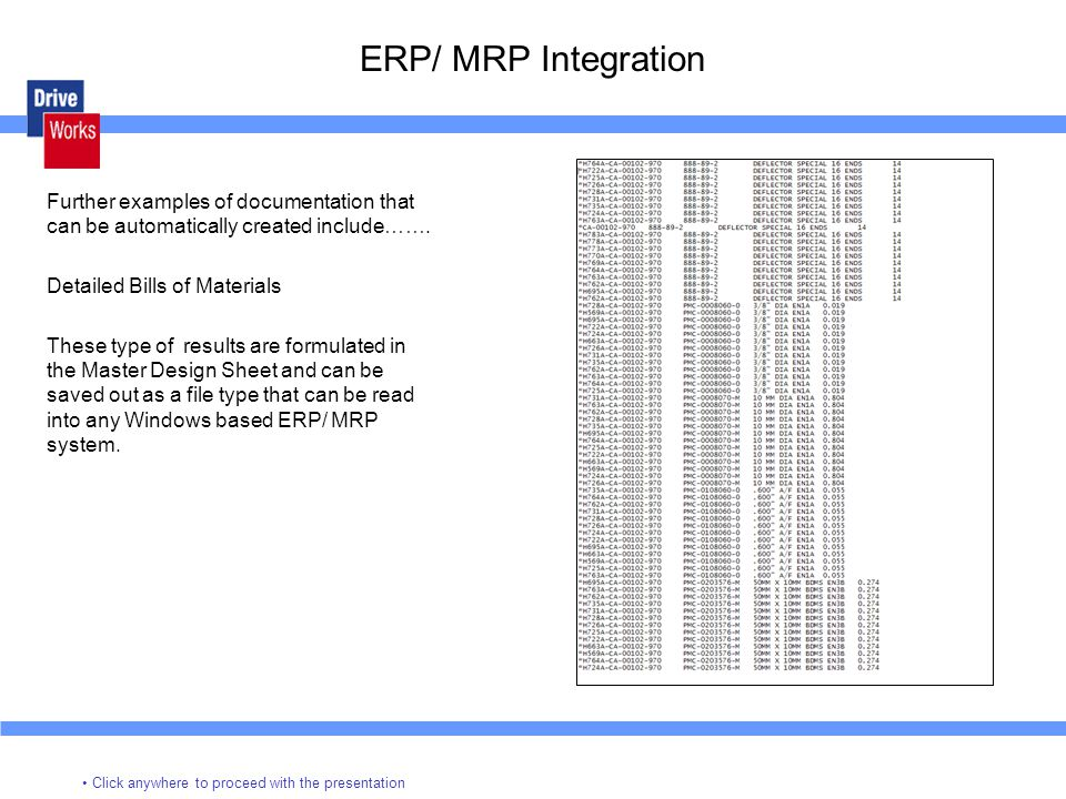 ERP/ MRP Integration Further examples of documentation that can be automatically created include…….