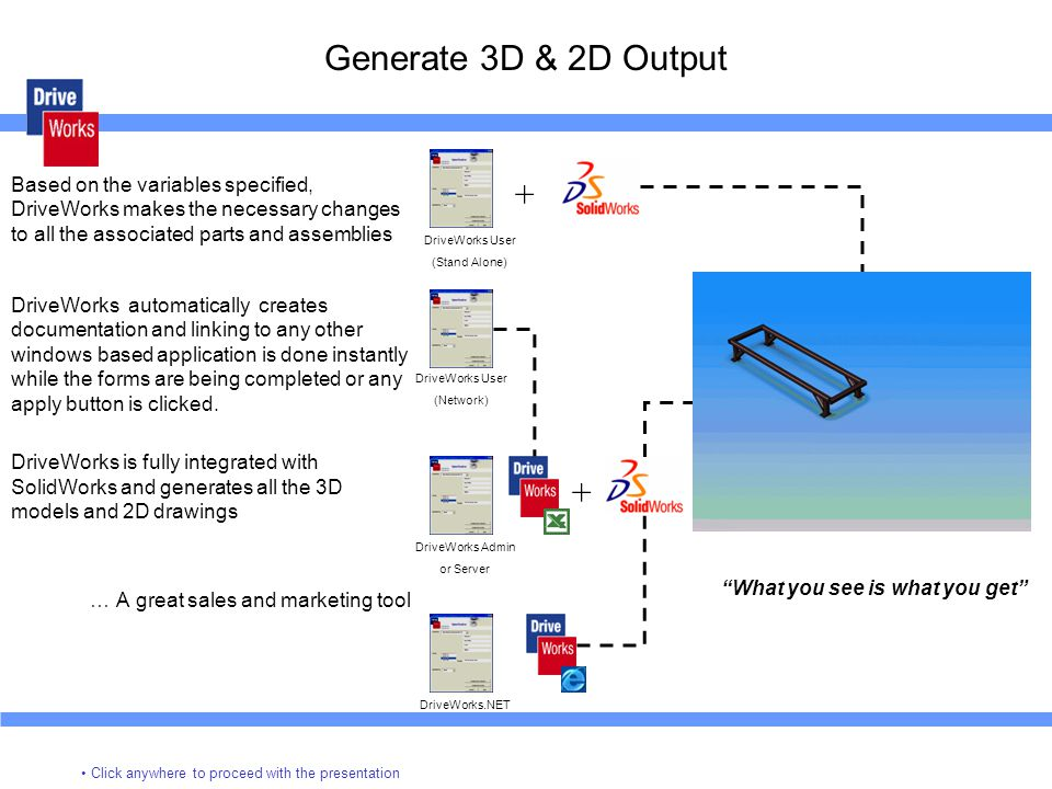 Generate 3D & 2D Output Based on the variables specified, DriveWorks makes the necessary changes to all the associated parts and assemblies.