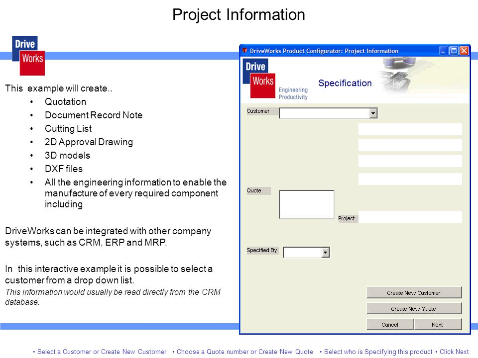 Project Information This example will create.. Quotation
