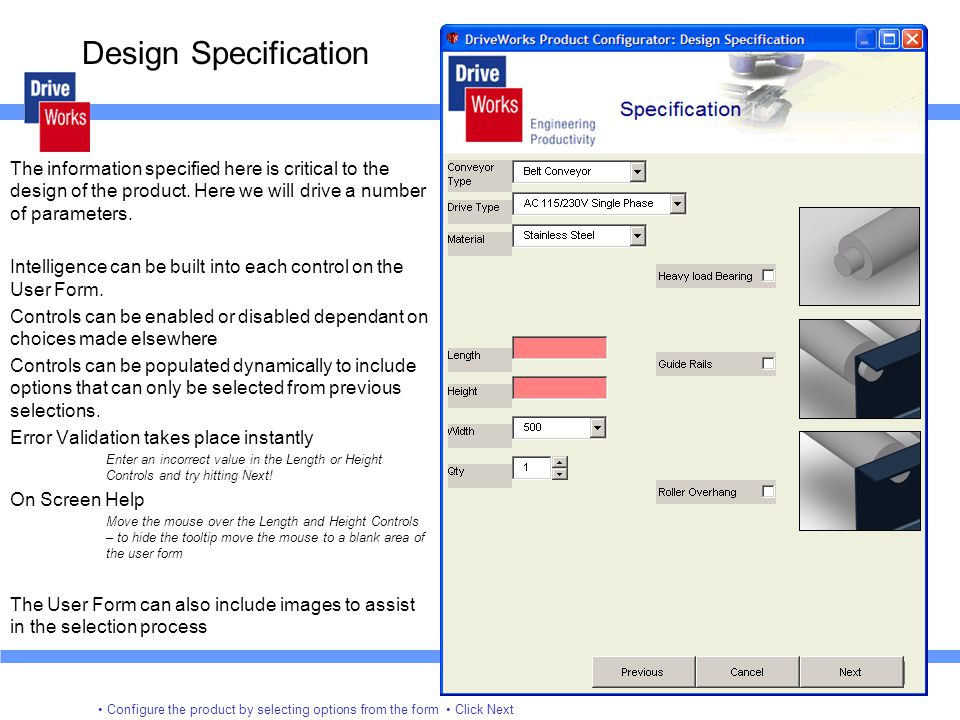 Design Specification The information specified here is critical to the design of the product. Here we will drive a number of parameters.