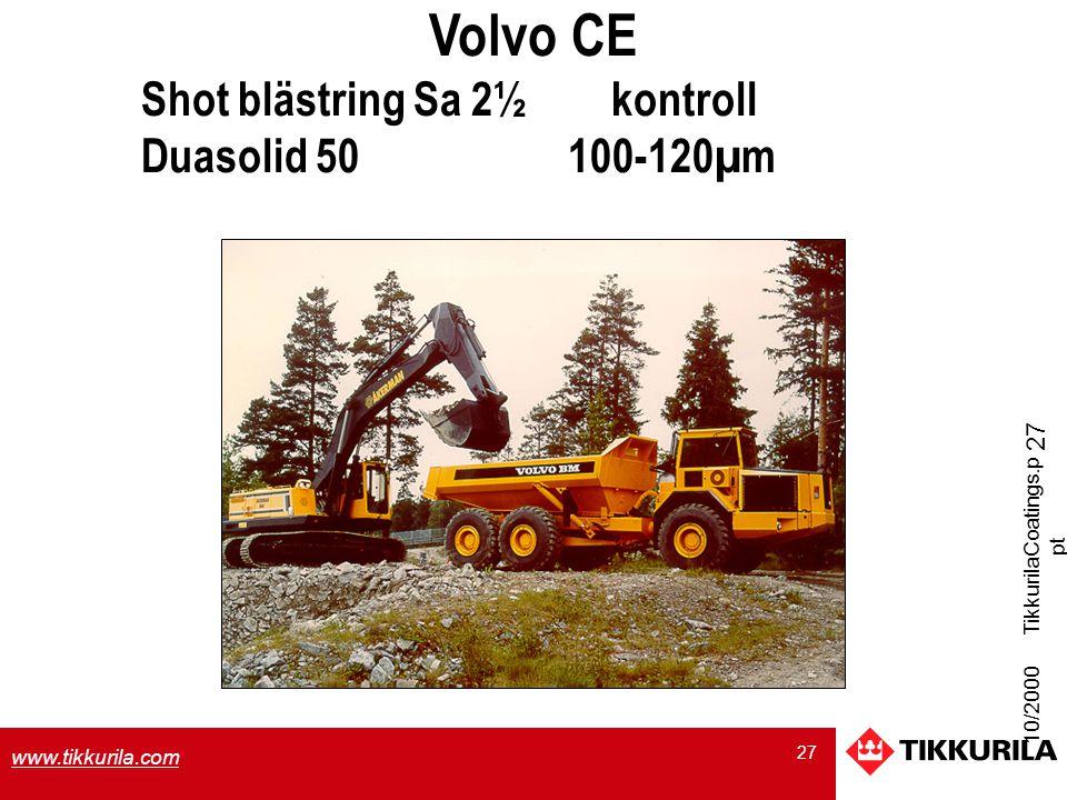 Volvo CE Shot blästring Sa 2½ kontroll Duasolid 50 100-120µm