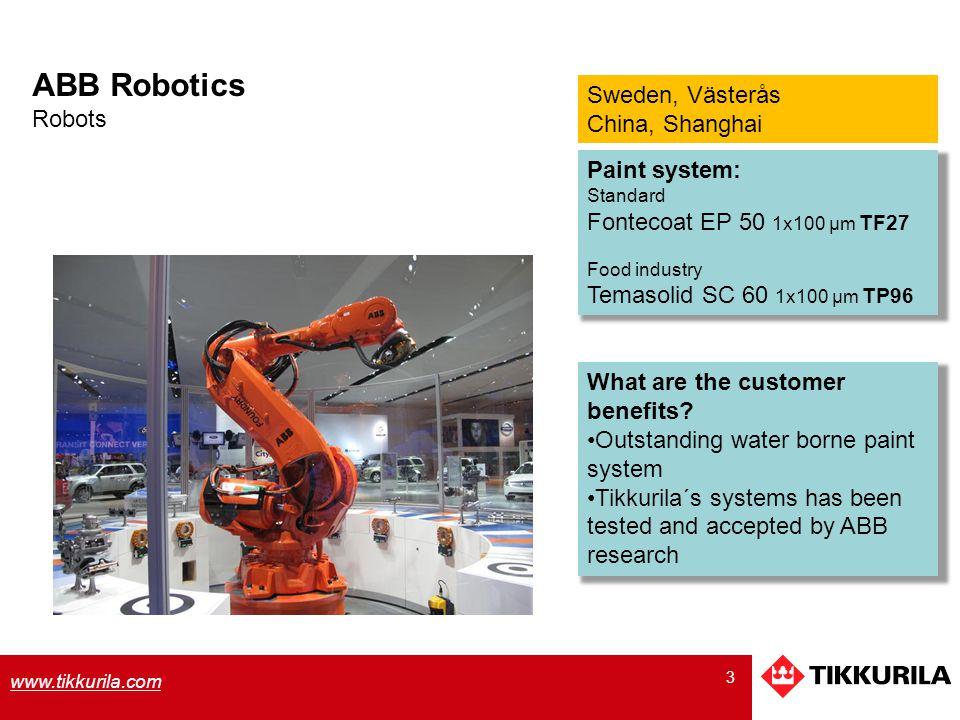 ABB Robotics Sweden, Västerås Robots China, Shanghai Paint system: