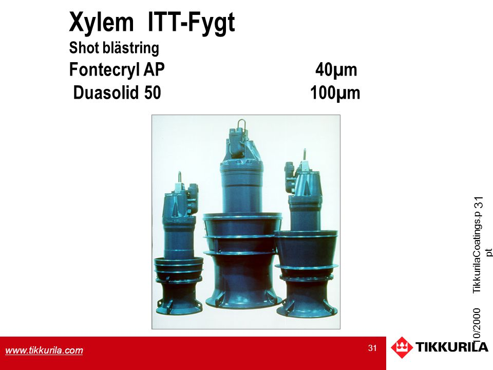 Xylem ITT-Fygt Duasolid 50 100µm Shot blästring Fontecryl AP 40µm