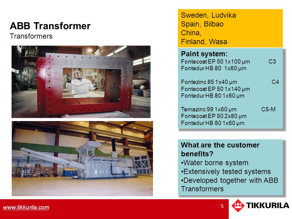 ABB Transformer Sweden, Ludvika Spain, Bilbao China, Finland, Wasa