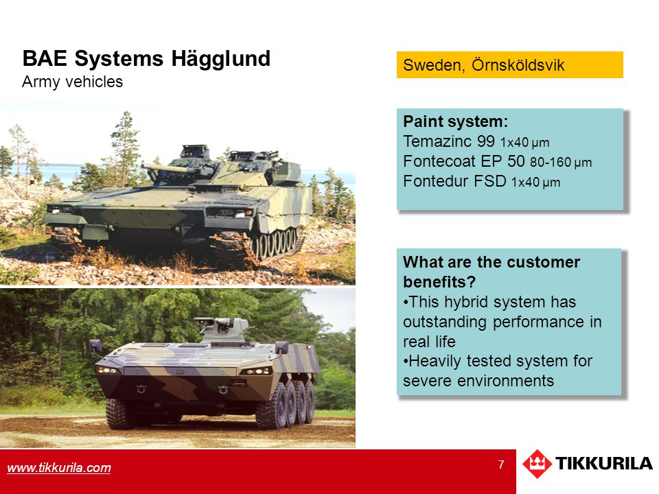 BAE Systems Hägglund Sweden, Örnsköldsvik Army vehicles Paint system: