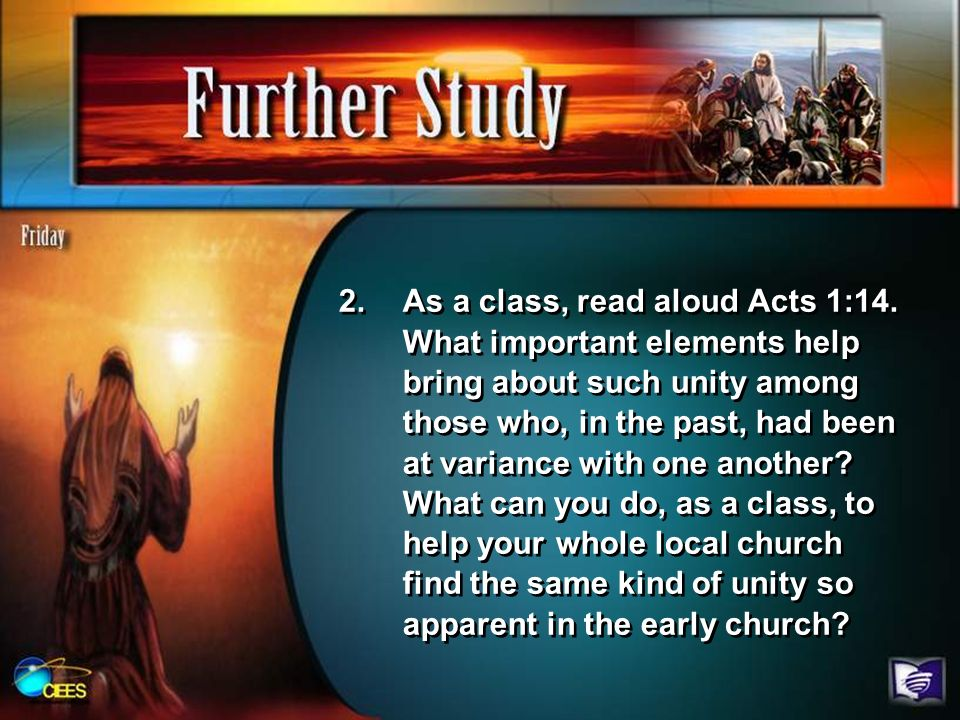 As a class, read aloud Acts 1:14