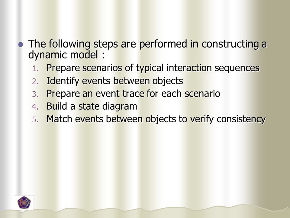 The following steps are performed in constructing a dynamic model :