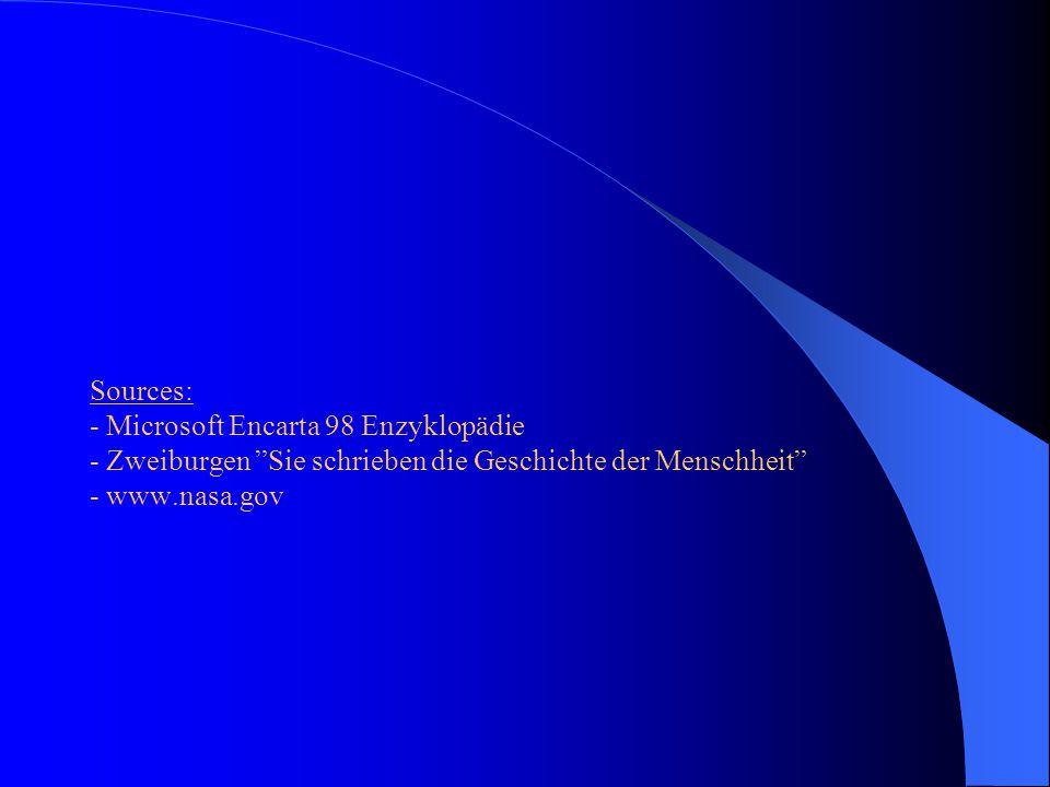 Sources: - Microsoft Encarta 98 Enzyklopädie - Zweiburgen Sie schrieben die Geschichte der Menschheit - www.nasa.gov