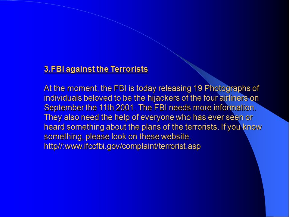 3.FBI against the Terrorists