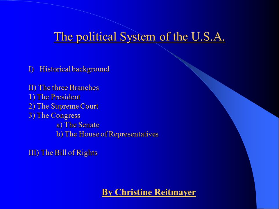 The political System of the U.S.A.