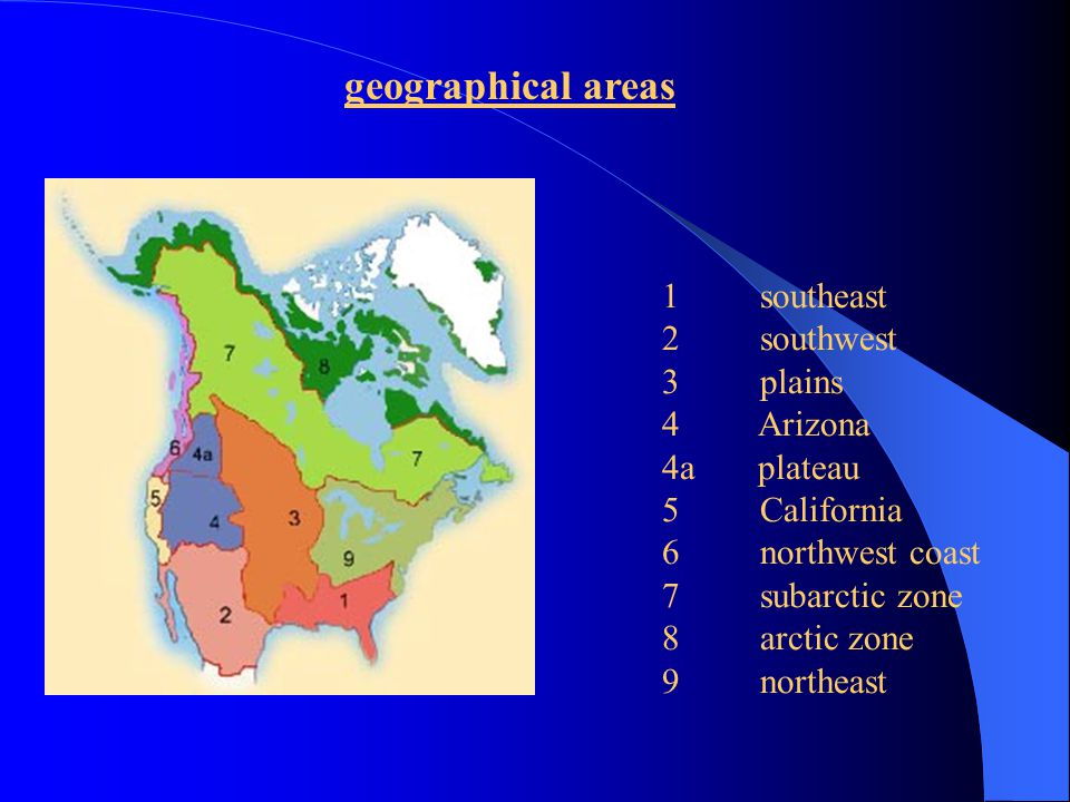 geographical areas 1 southeast 2 southwest 3 plains 4 Arizona