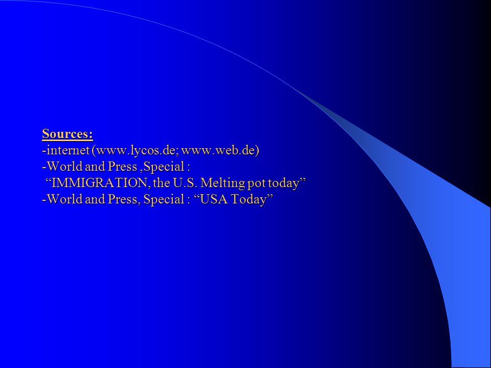 Sources: -internet (www. lycos. de; www. web