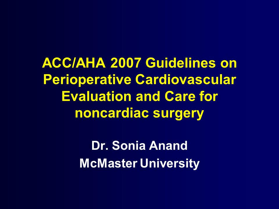Dr. Sonia Anand McMaster University