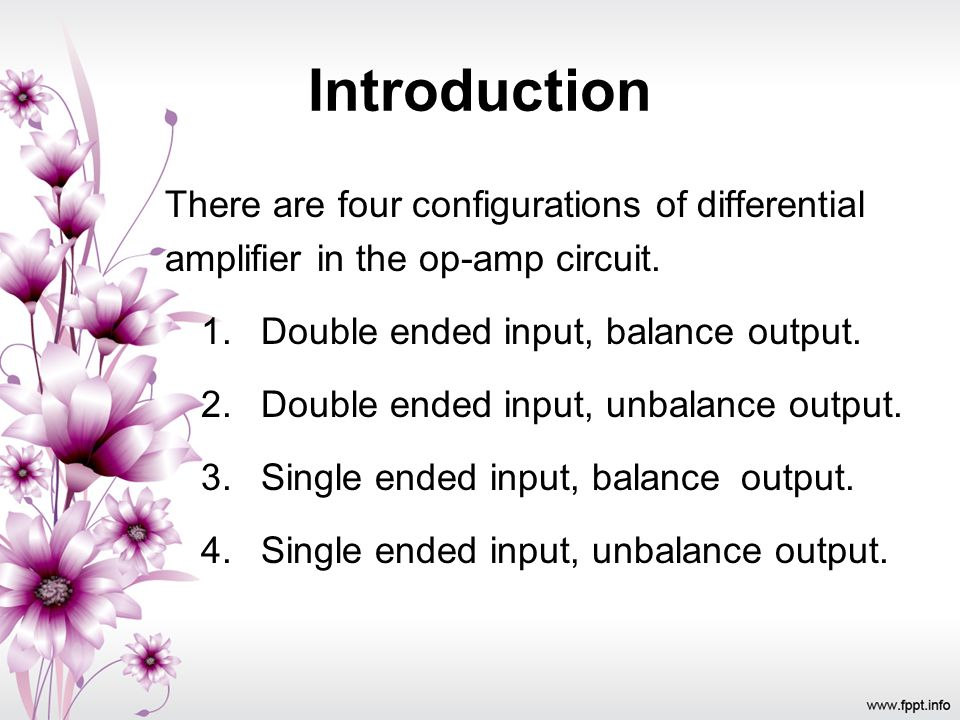 Introduction There are four configurations of differential