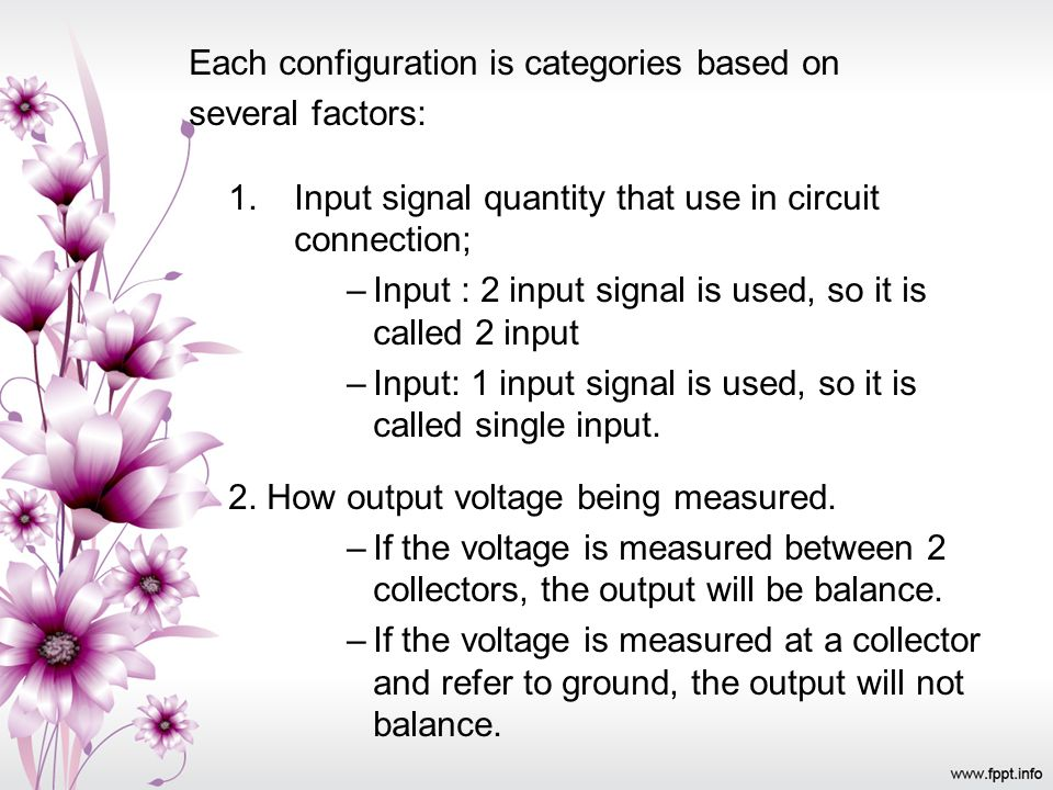 Each configuration is categories based on
