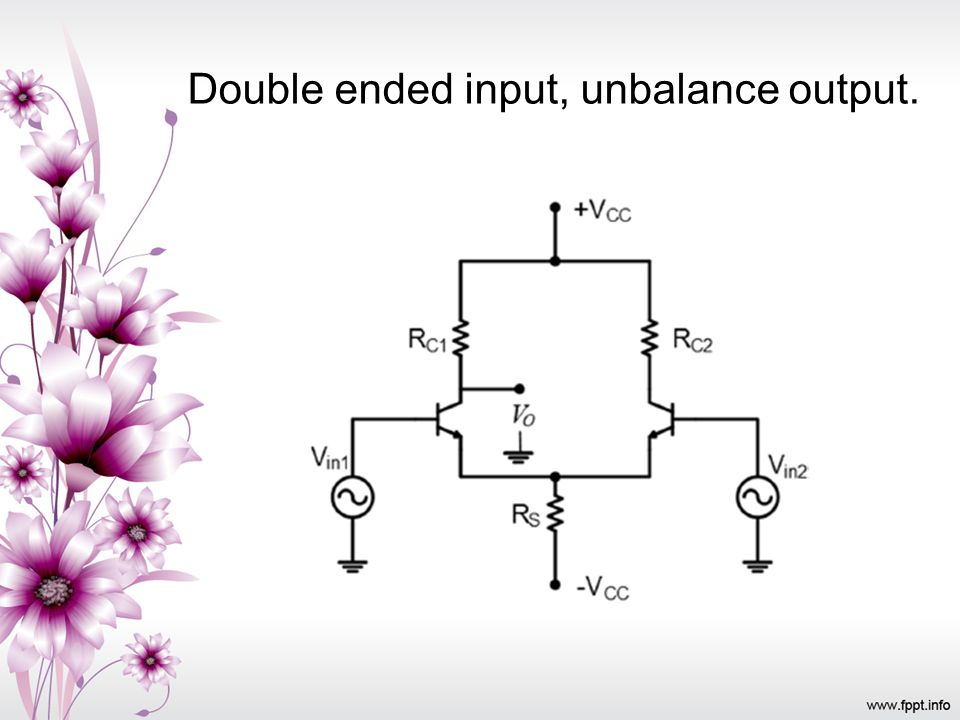Double ended input, unbalance output.