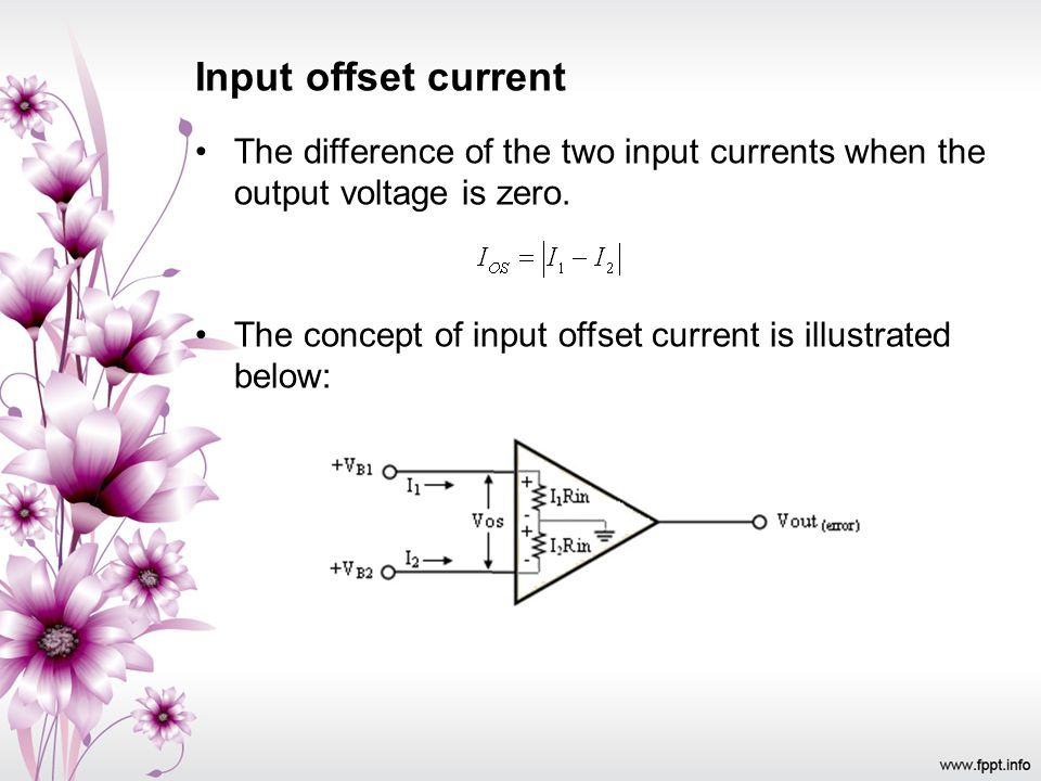 Input offset current The difference of the two input currents when the output voltage is zero.