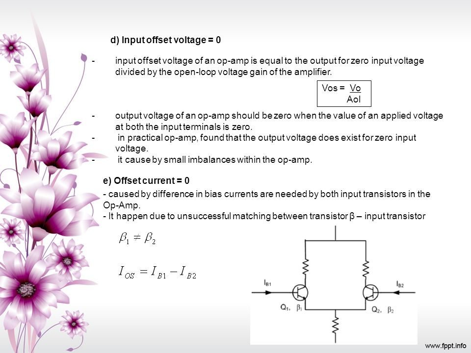 d) Input offset voltage = 0