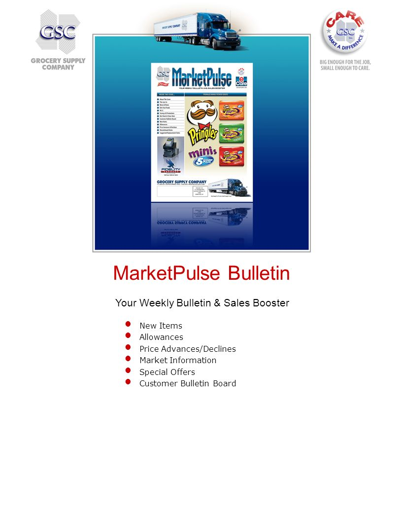 Your Weekly Bulletin & Sales Booster