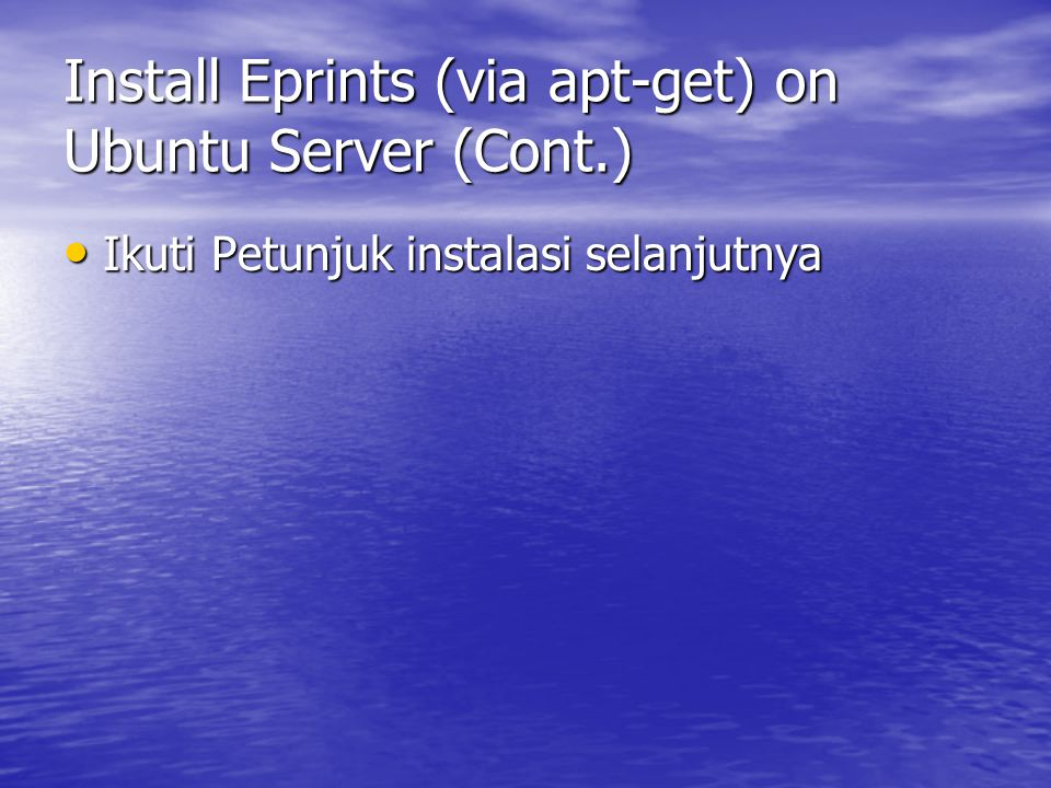 Install Eprints (via apt-get) on Ubuntu Server (Cont.)