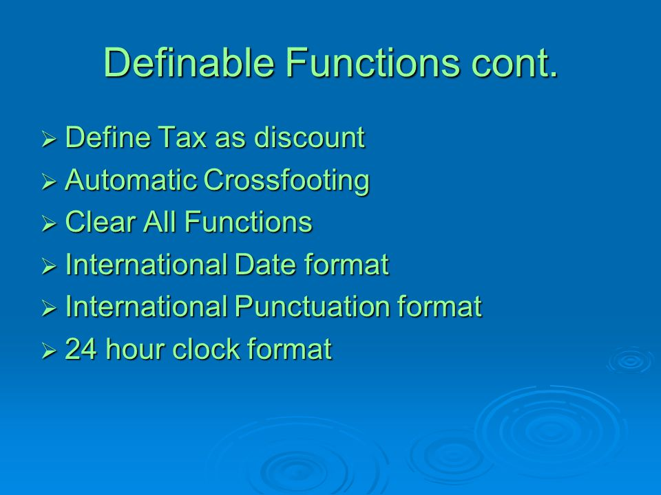 Definable Functions cont.
