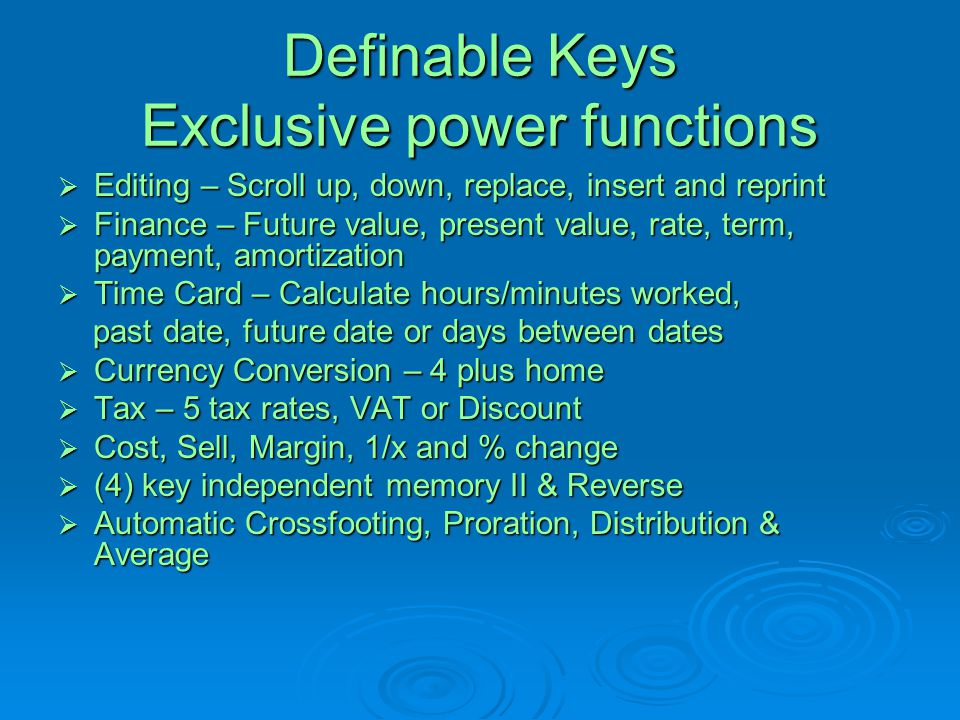Definable Keys Exclusive power functions