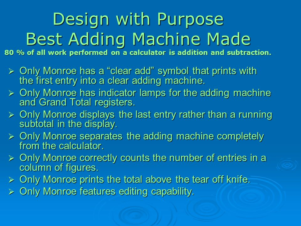 Design with Purpose Best Adding Machine Made 80 % of all work performed on a calculator is addition and subtraction.