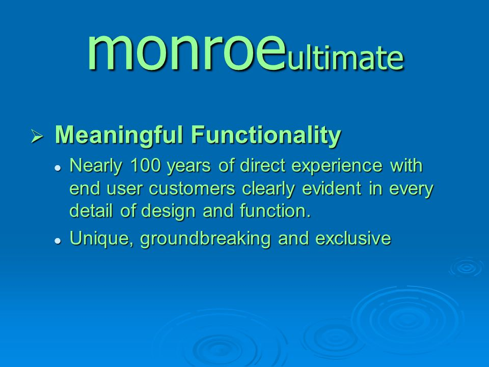 monroeultimate Meaningful Functionality