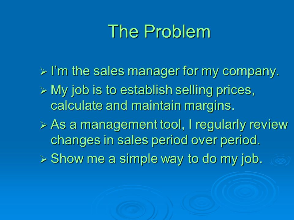 The Problem I'm the sales manager for my company.