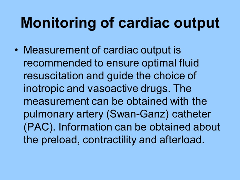 Monitoring of cardiac output