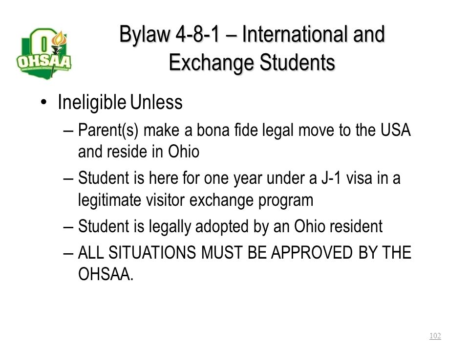 Bylaw 4-8-1 – International and Exchange Students