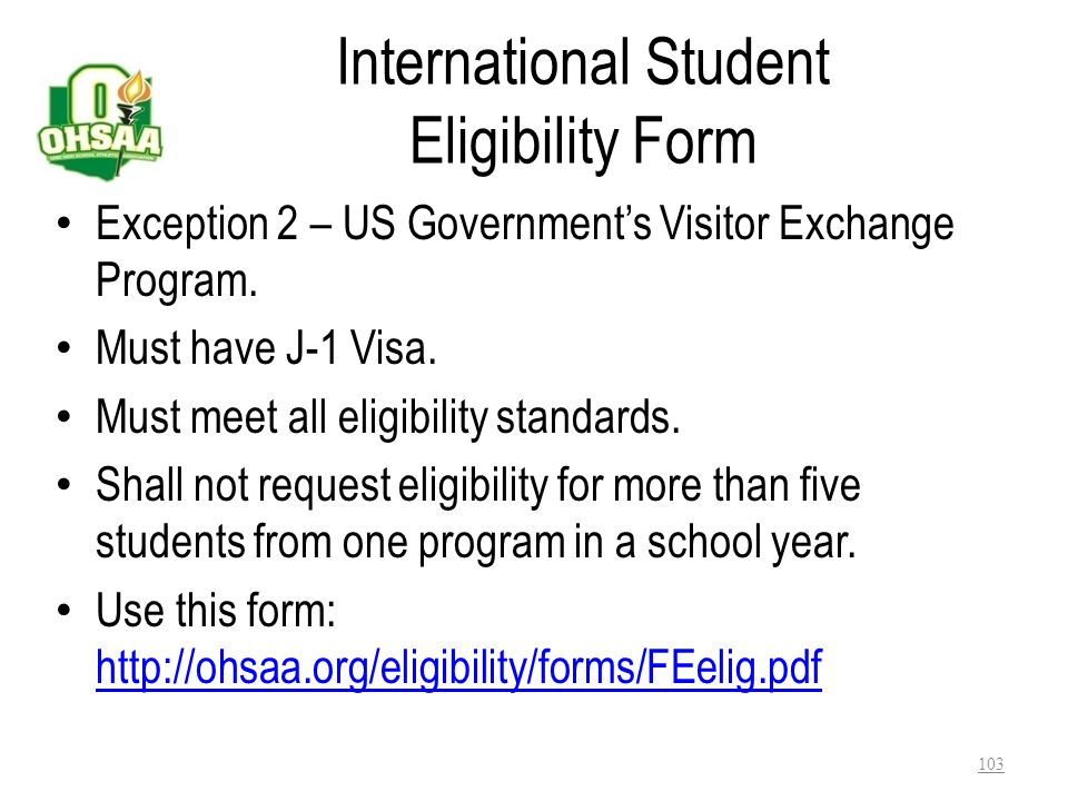 International Student Eligibility Form