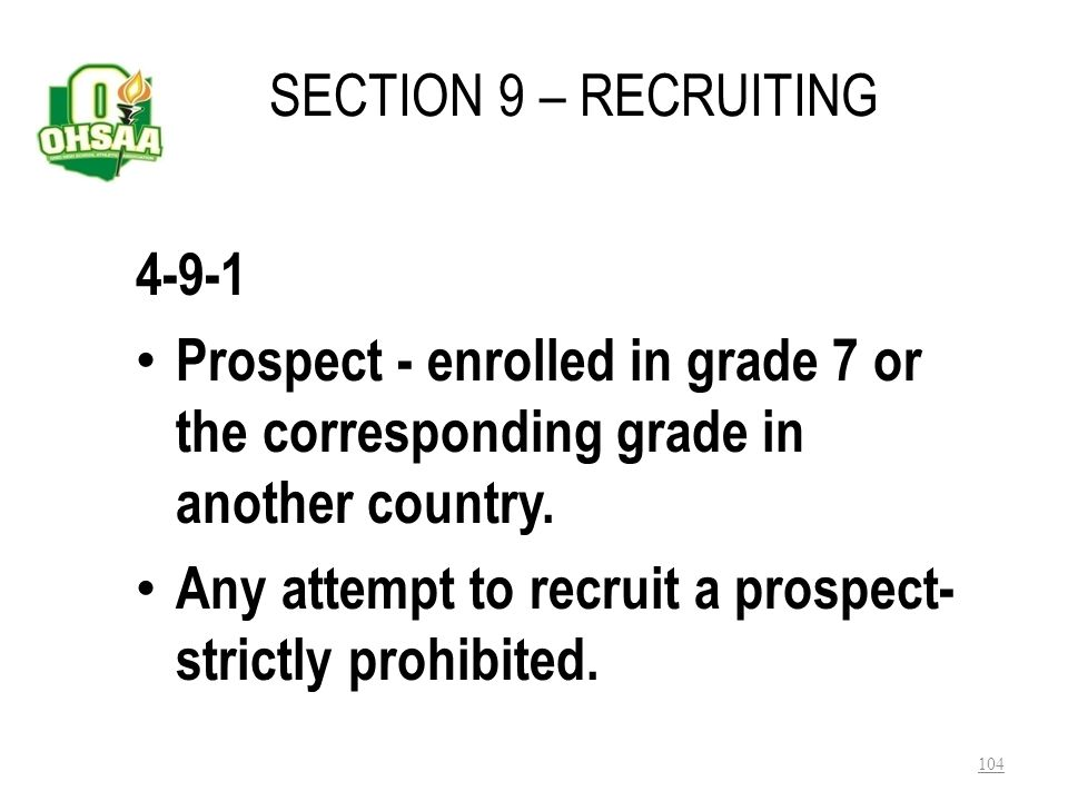 Any attempt to recruit a prospect- strictly prohibited.