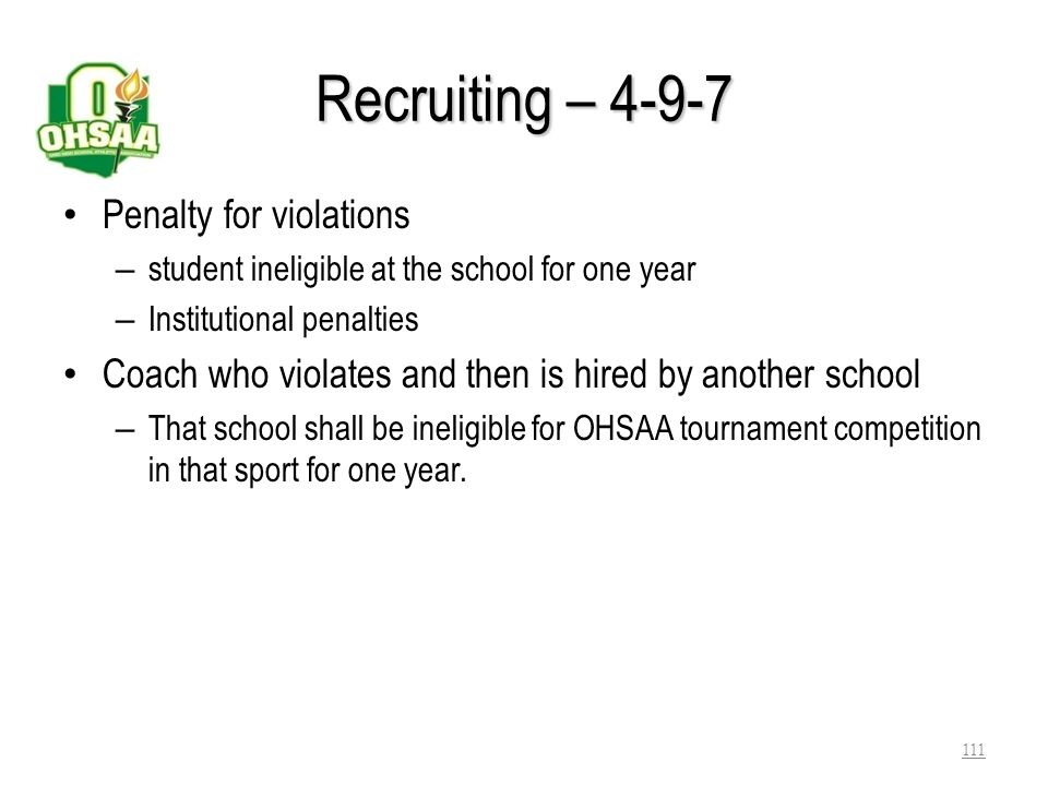 Recruiting – 4-9-7 Penalty for violations