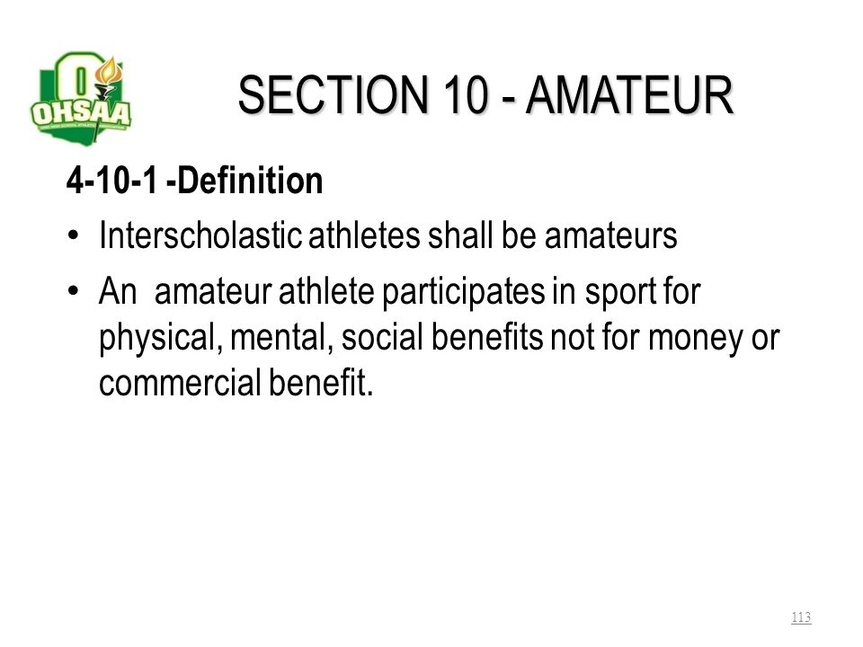 SECTION 10 - AMATEUR 4-10-1 -Definition