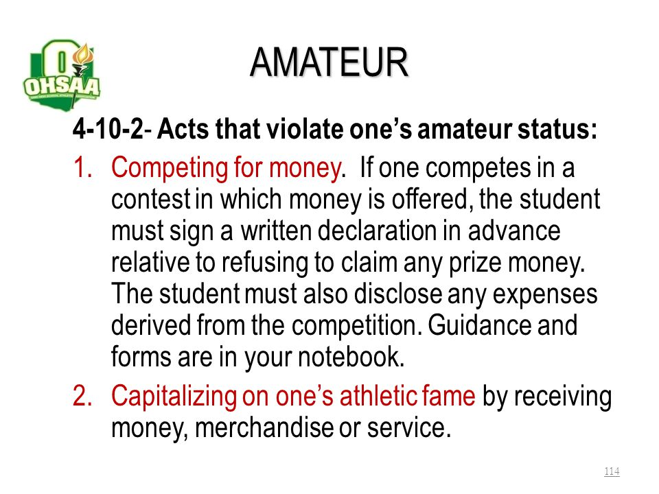 AMATEUR 4-10-2- Acts that violate one's amateur status: