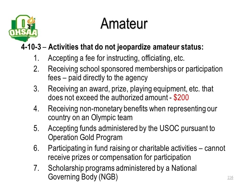 Amateur 4-10-3 – Activities that do not jeopardize amateur status: