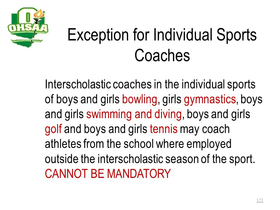 Exception for Individual Sports Coaches