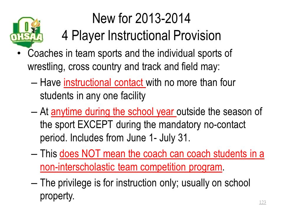 New for 2013-2014 4 Player Instructional Provision