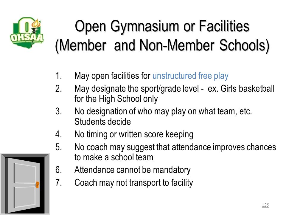 Open Gymnasium or Facilities (Member and Non-Member Schools)