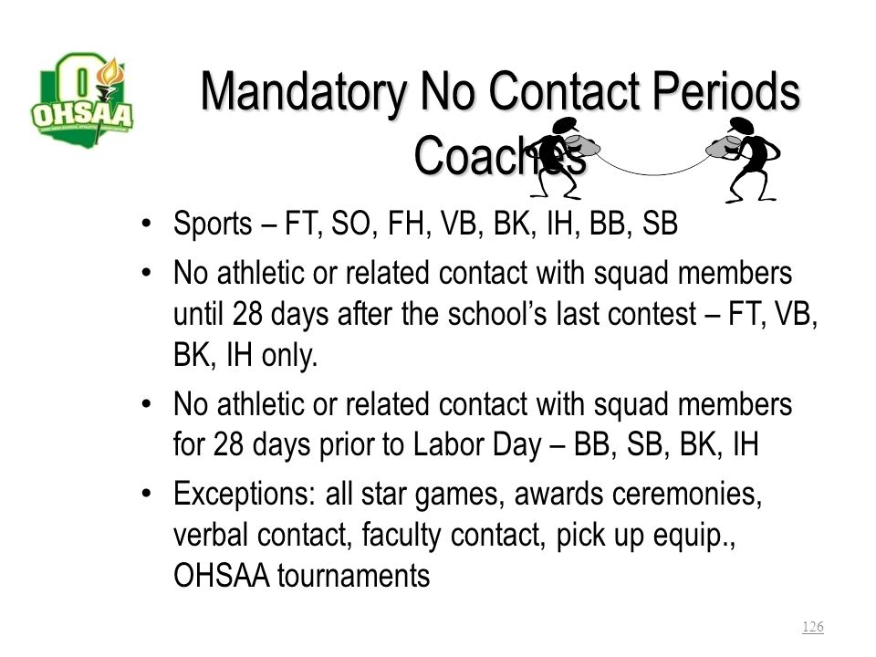 Mandatory No Contact Periods Coaches