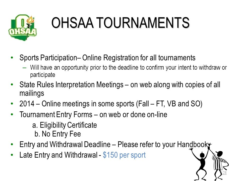 OHSAA TOURNAMENTS Sports Participation– Online Registration for all tournaments.